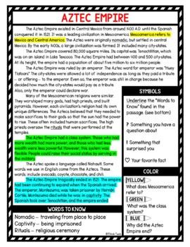 Aztec Empire Reading Passages picture