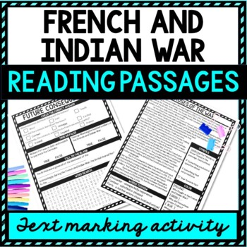 French and Indian War Reading Passages with Questions and Text Marking and Word Search picture