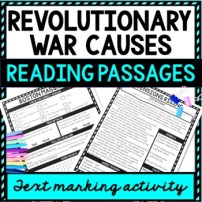 Revolutionary War Causes Reading Passages picture