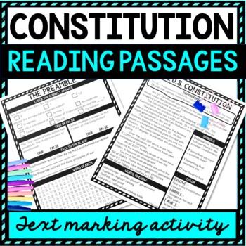 U.S. Constitution Reading Passages, Questions picture