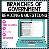 Branches of Government DIGITAL Reading Passage and Questions picture