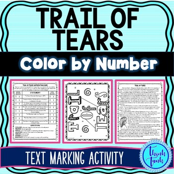 Trail of Tears Color by Number picture