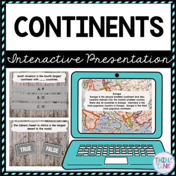 Continents Interactive Google Slides™ Presentation | Distance Learning Picture