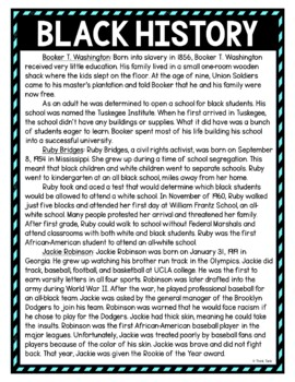 Black History DIGITAL Reading Passage and Questions - Self Grading