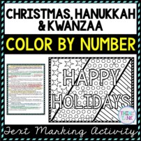 Christmas, Hanukkah & Kwanzaa Color by Number, Reading Passage and Text Marking