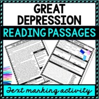 Great Depression Reading Passages, Questions and Text Marking Word Search