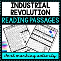 Industrial Revolution Reading Passages, Questions and Text Marking + Word Search