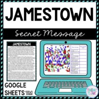 Jamestown Secret Message Activity for Google Sheets™ I Distance Learning