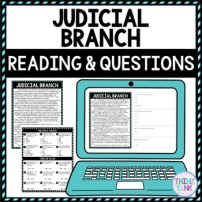 Judicial Branch DIGITAL Reading Passage and Questions - Self Grading