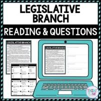 Legislative Branch DIGITAL Reading Passage and Questions - Self Grading