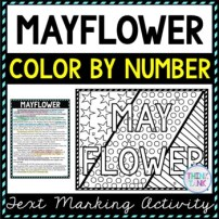 Mayflower Color by Number, Reading Passage and Text Marking