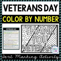 Veteran Day Color by Number, Reading Passage and Text Marking