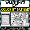 Valentine's Day Color by Number, Reading Passage and Text Marking product picture