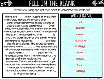 Layers of the Earth DIGITAL Interactive Notebook | Choice Board