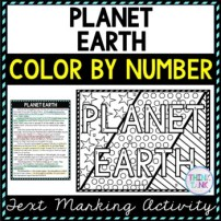 Planet Earth Color by Number, Reading Passage and Text Marking