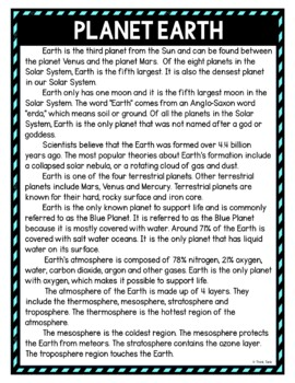 Planet Earth DIGITAL Reading Passage and Questions - Self Grading