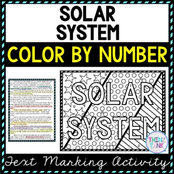 Solar System Color by Number, Reading Passage and Text Marking