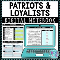 Patriots and Loyalists DIGITAL Interactive Notebook American Revolution