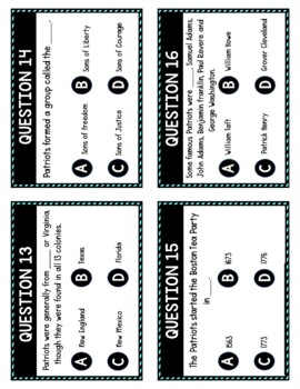 Patriots and Loyalists Task Cards Review Game Activity | American Revolution 1