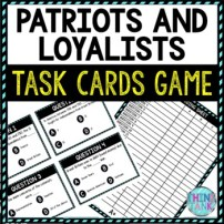 Patriots and Loyalists Task Cards Review Game Activity | American Revolution