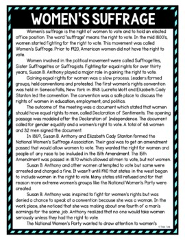 Women's suffrage education activity
