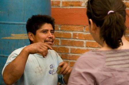 Interviewing a mezcalero