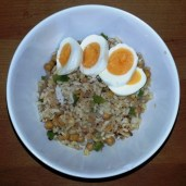 Tuesday Diner - friend rice (rice, chickpeas, green bell pepper, shallot, garlic, chili oil) and hard boiled egg