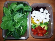 Thursday Lunch - mixed green salad with beets, feta, yellow bell pepper, avocado, chery tomatoes