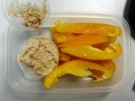 Friday snack - yellow bell pepper and hummus