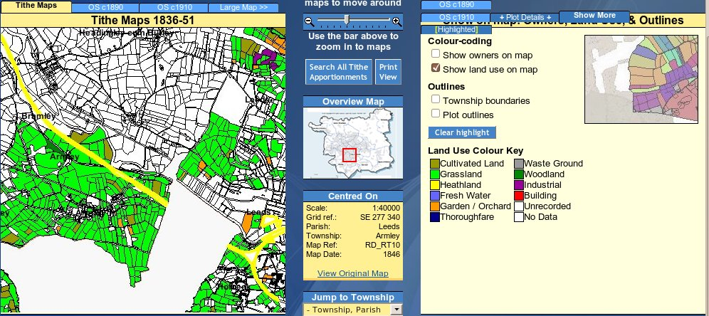 leeds west yorkshire tithe map