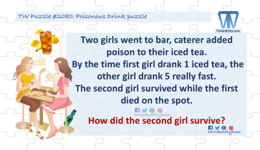 Puzzle 2080 thinkwitty.com - Poisonous Drink Puzzle Riddle