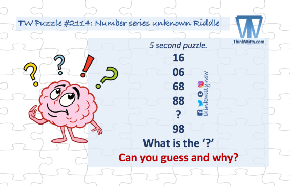 Puzzle 2114 thinkwitty.com - Number series unknown Riddle