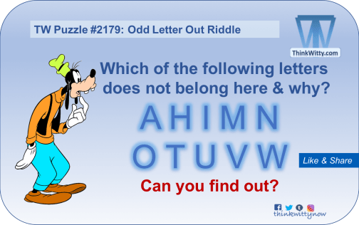 Puzzle 2179 thinkwitty.com - Odd Letter Out RIddle - Presence of mind