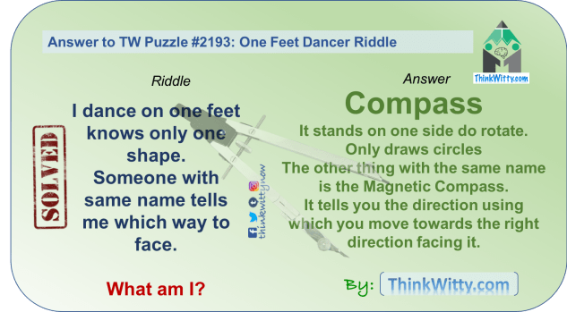 Answer to the Puzzle 2193 thinkwitty.com - One Feet Dancer Riddle - Presence of mind