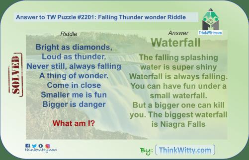 Answer to the Puzzle 2201 thinkwitty.com - Falling Thunder Wonder Riddle - Presence of mind