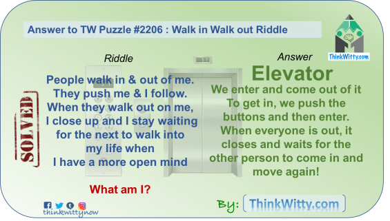Answer to the Puzzle 2206 thinkwitty.com - Walk in Walk Out Riddle - Presence of mind