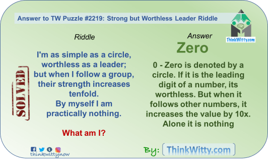 Answer to the Puzzle 2219 thinkwitty.com - Strong but Worthless Leader Riddle - Presence of mind