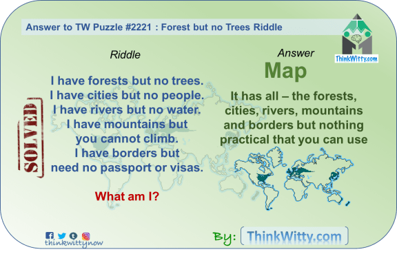 Answer to the Puzzle 2221 thinkwitty.com - - Forest but no Trees Riddle - Presence of mind