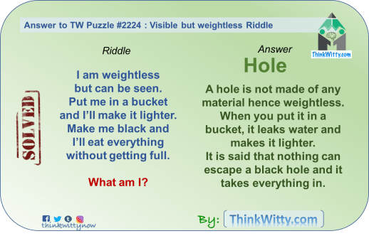Answer to the Puzzle 2224 thinkwitty.com - Visible But Weightless Riddle - Smart thinking