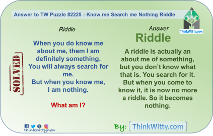 Answer to the Puzzle 2225 thinkwitty.com - Know me Search me Nothing Riddle - Smart thinking