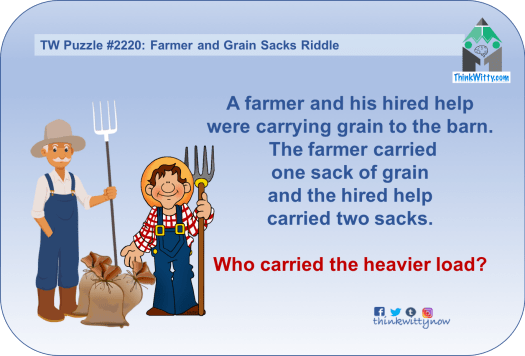 Puzzle 2220 thinkwitty.com - Farmer and Grain Sacks Riddle - Presence of mind
