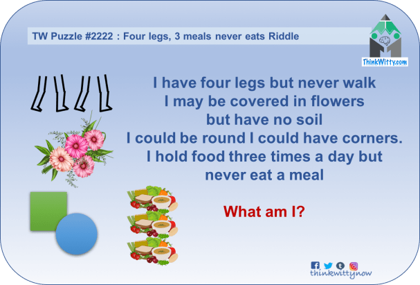 Puzzle 2222 thinkwitty.com - Four legs, 3 meals never eats Riddle - Presence of mind