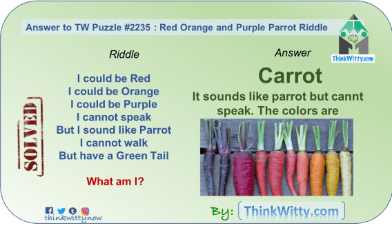 Answer to the Puzzle 2235 thinkwitty.com - Red Orange and Purple Parrot Riddle - Presence of mind