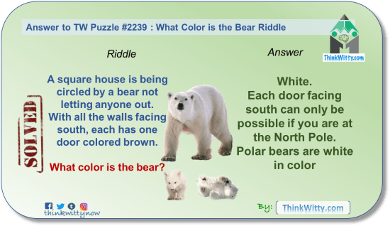 Answer to the Puzzle 2239 thinkwitty.com - What Color is The Bear Riddle - Presence of mind
