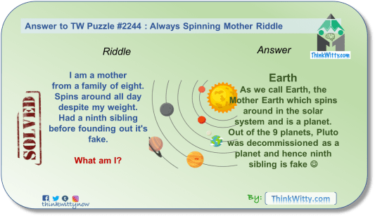 Answer to the Puzzle 2244 thinkwitty.com - Always Spinning Mother Riddle - Presence of mind