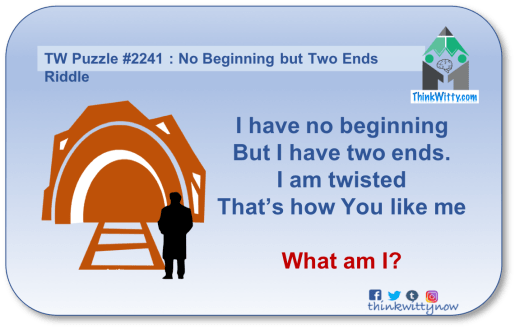 Puzzle 2241 thinkwitty.com - No Beginning But Two Ends Riddle - Presence of mind