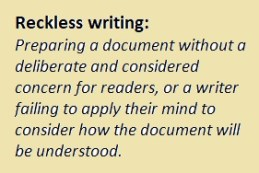 Reckless writing: not caring about readers