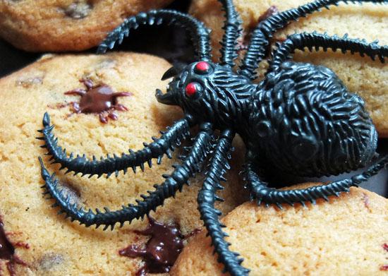 Halloween baking, spider cookies
