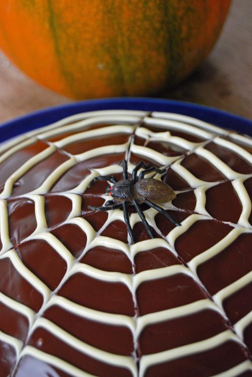 Chocolate Halloween Cobweb Cake