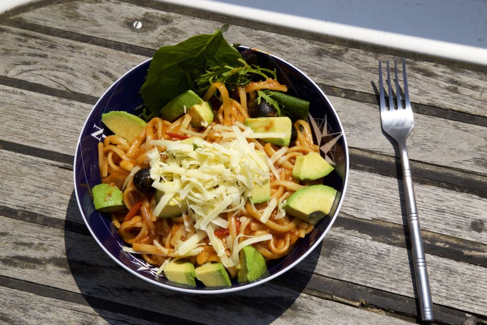 One Pot Pasta Puttanesca - A vegetarian one pot pasta, cooked at sea! thinlyspread.co.uk